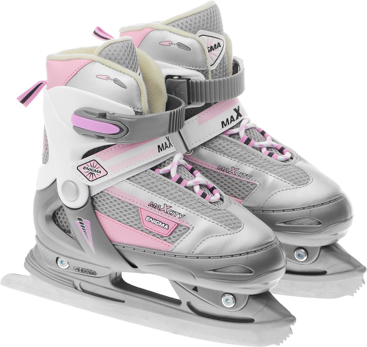 Коньки ледовые для девочки MaxCity Enigma girl, раздвижные, цвет: розовый, серый. Размер 34/37SF 010Оригинальные раздвижные ледовые коньки для девочки MaxCity Enigma girl с ударопрочной защитной конструкцией отлично подойдут для начинающих обучаться катанию. Ботинки изготовлены из морозостойкого пластика, который защитит ноги от ударов. Пластиковая бакля с фиксатором, хлястик на липучке и шнуровка надежно фиксируют голеностоп. Внутренний сапожок, выполненный из мягкого вельвета, обеспечит тепло и комфорт во время катания.Фигурное лезвие изготовлено из нержавеющей стали со специальным покрытием, придающим дополнительную прочность.Изделие декорировано принтом и тиснением в виде логотипа бренда, также оригинальными нашивками. Задняя часть коньков дополнена ярлычком для более удобного надевания обуви. Особенностью коньков является раздвижная конструкция, которая позволяет увеличивать длину ботинка на 4 размера по мере роста ноги ребенка. У сапожка с боку имеется специальная кнопка, которая позволит увеличить его размер.Стильные коньки придутся по душе вашему ребенку.