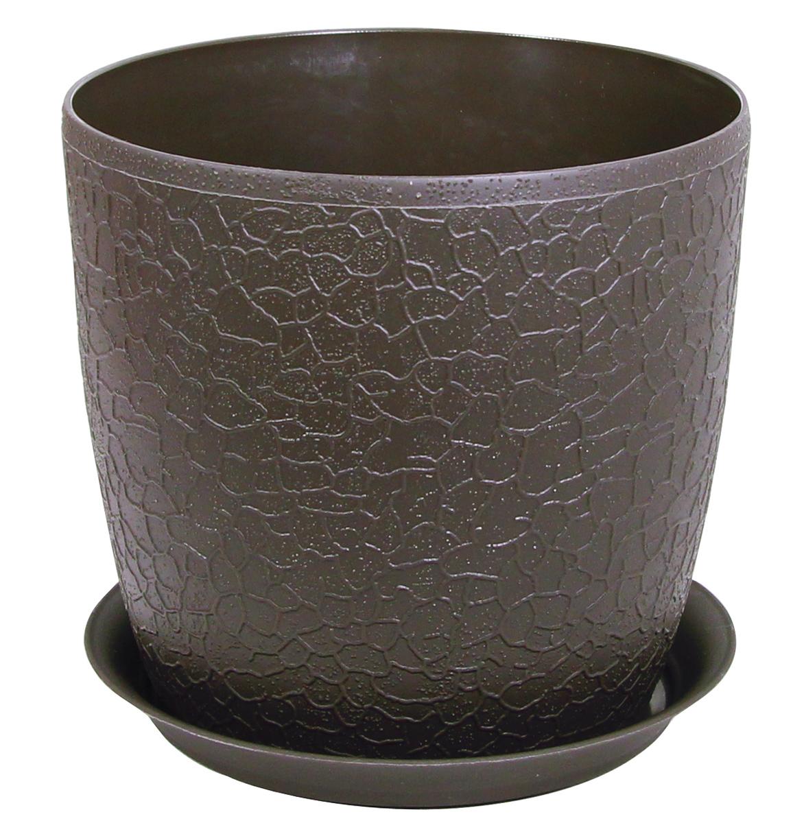 Кашпо Idea Верона, с подставкой, цвет: коричневый, диаметр 18 смМ 3097