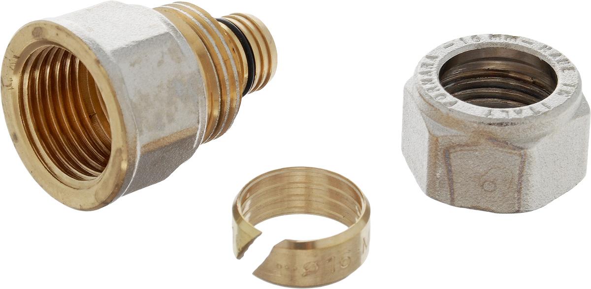 Соединитель Fornara, цанга - внутренняя резьба, 16 x 1/214411Соединитель Fornara предназначен для соединения металлопластиковых труб с помощью разводного ключа. Соединение получается разъемным, что позволяет при необходимости заменять уплотнительные кольца, а также производить обслуживание участка трубопровода.