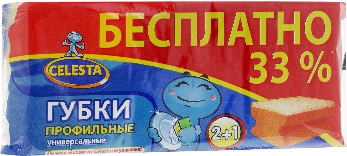 Губки профильные Celesta, универсальные, 3 шт. 1108511085Профильные губки Celesta предназначены для мытья плит, раковин, посуды. Мягкий слой губок аккуратно очищает деликатные поверхности. Жесткий слой легко справляется с сильными загрязнениями. Размер губки: 8,5 см х 6,5 см х 4 см.