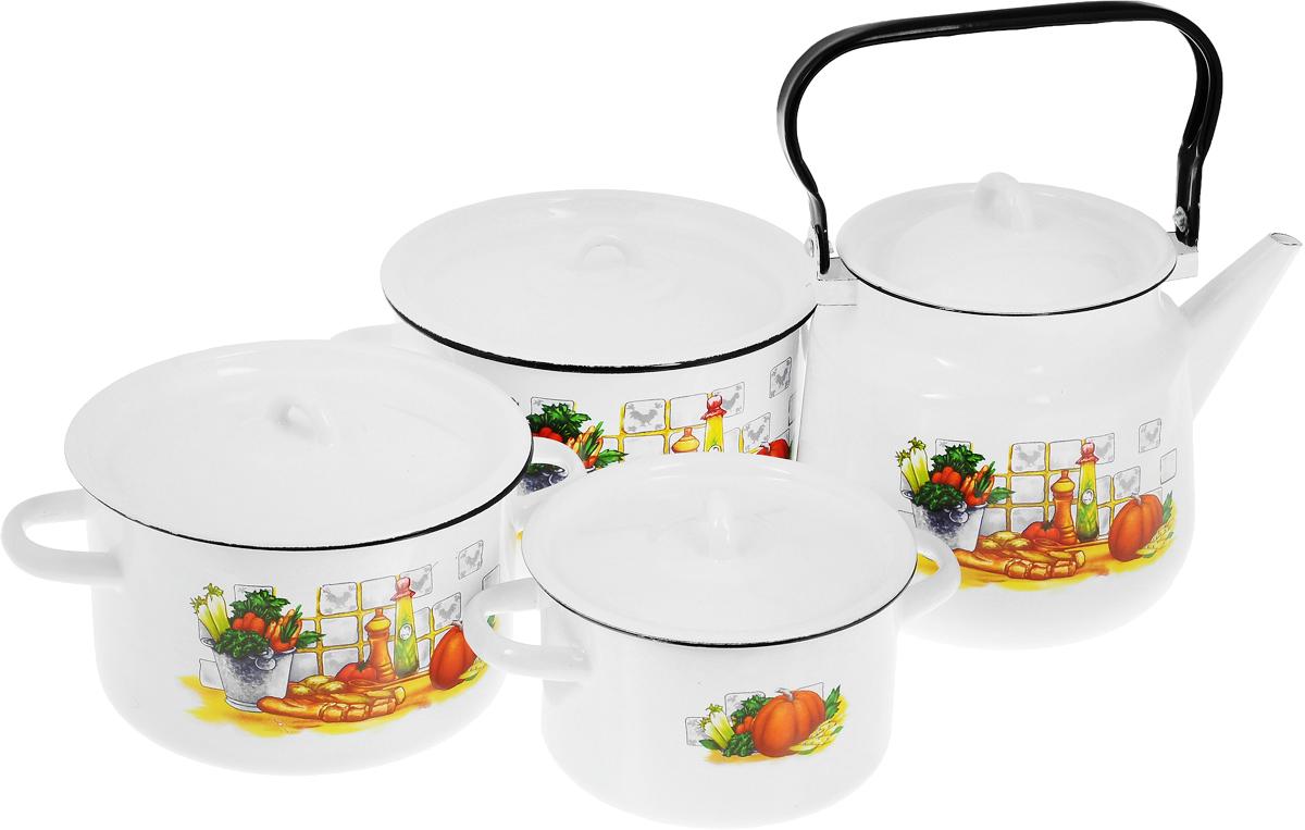 Набор посуды СтальЭмаль Дачная, 7 предметов1с142/1Набор посуды СтальЭмаль Дачная состоит из 3 кастрюль разного объема, 3 крышек и чайника. Изделия выполнены из качественной эмалированной стали. Эмаль защищает сталь от коррозии, придает посуде гладкую поверхность и надежно защищает от кислот и щелочей. Эмаль устойчива к пищевым кислотам, не вступает во взаимодействие с продуктами и не искажает их вкусовые качества. Прочный стальной корпус обеспечивает эффективную тепловую обработку пищевых продуктов и не деформируется в процессе эксплуатации. Внешняя поверхность изделий оформлена красочным изображением. Кастрюли и чайник снабжены стальными крышками. Чайник имеет прочную подвижную ручку. Посуда подходит для газовых, электрических, стеклокерамических, индукционных плит, а также для духовки. Можно мыть в посудомоечной машине. Объем кастрюль: 1,5 л; 2,9 л; 3,9 л. Диаметр кастрюль (по верхнему краю): 16 см; 19 см; 21 см. Ширина кастрюль (с учетом ручек): 21 см; 25 см; 28 см. ...