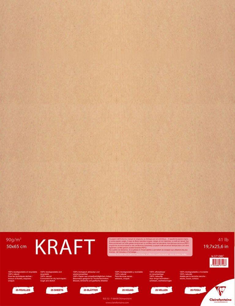 Бумага Clairefontaine Kraft, 50 х 65 см, 25 листов37108СНабор бумаги KRAFT (50х65, 90г, 25л) 37108С