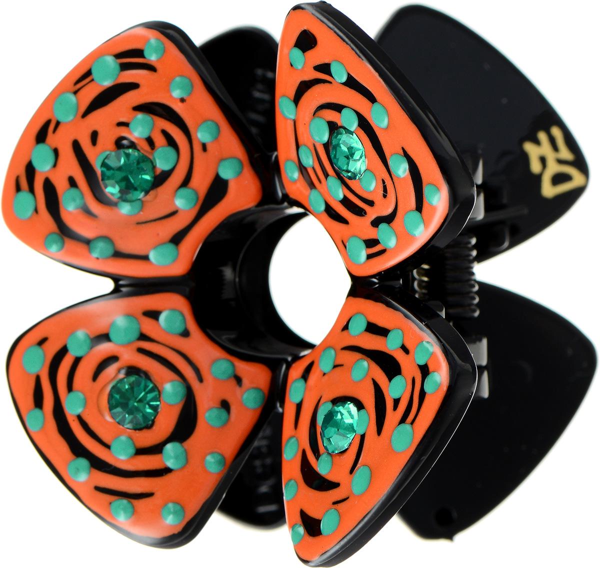Заколка-краб Selena, цвет: оранжевый, черный. 7006427370064273Пластик, эмаль ручная роспись. Кристаллы Preciosa, длина заколки 4 см ширина 3 см высота 4 см