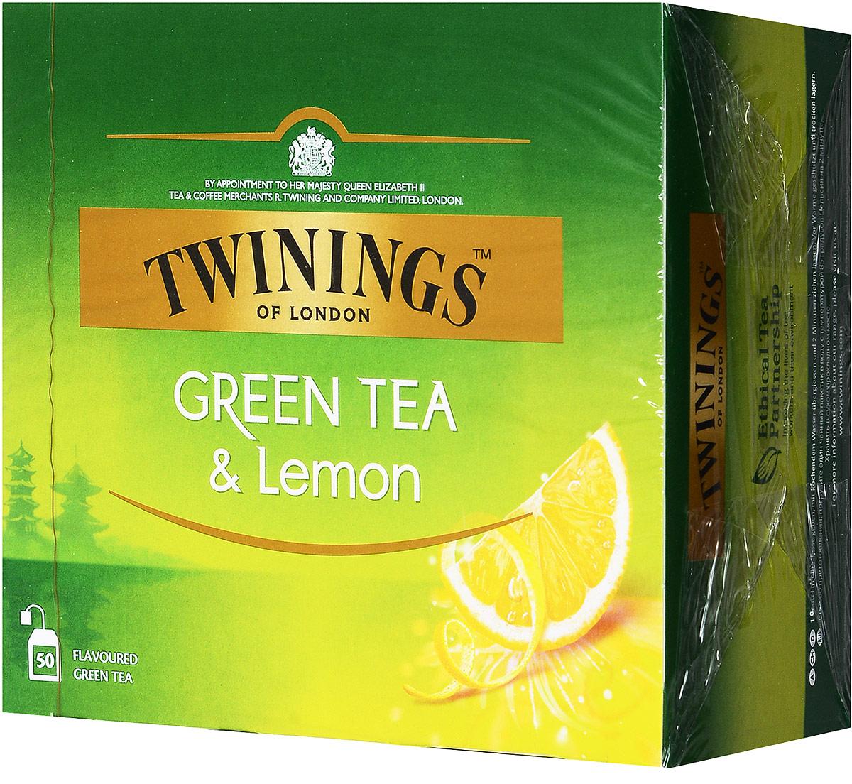 Twinings Green Tea & Lemon зелёный чай с цедрой лимона в пакетиках, 50 шт101246Twinings Green Tea & Lemon - уникальная смесь зеленого чая с добавлением лимонной цедры. Неповторимый вкус этого чая не оставит никого равнодушным.