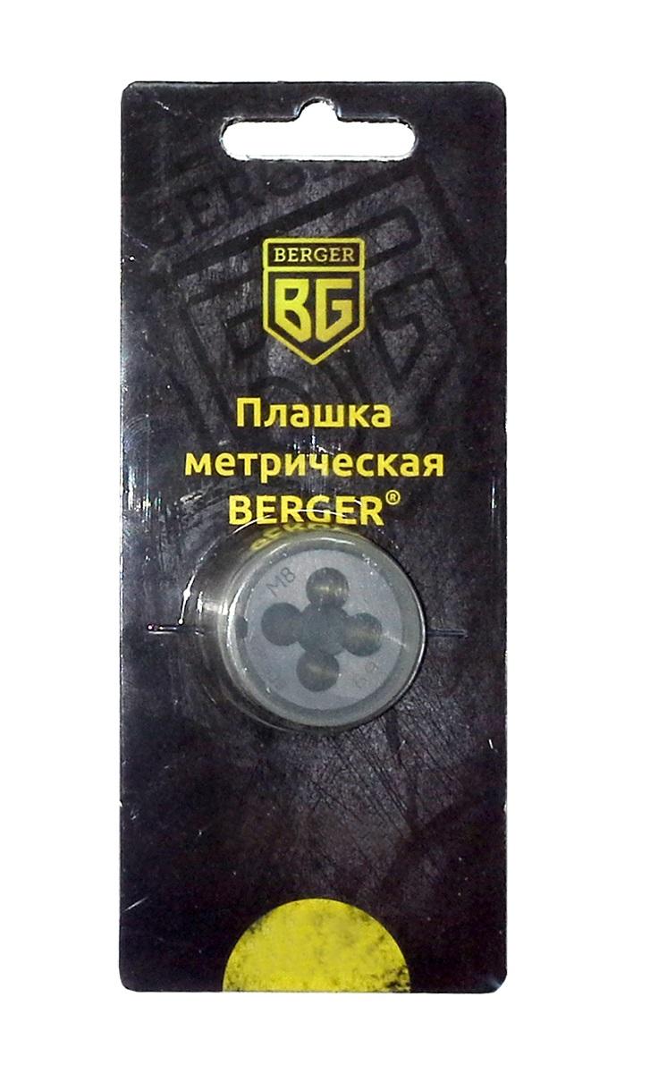 Плашка метрическая Berger, М10 х 1,5 мм. BG1008CA-3505Плашки изготовлены из инструментальной легированной стали 9ХС (средняя твердость 61 HRC), обладают повышенной износостойкостью, упругостью, сопротивлением к изгибу и кручению, стойкостью к контактным нагрузкам. Упаковка - блистер. Маркировка плашки облегчает идентификацию.