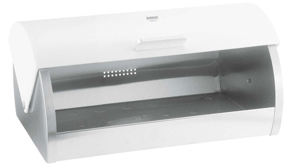 Хлебница Bekker Premium, цвет: стальной, белый, 39 х 25,5 х 18 смVT-1520(SR)Хлебница Bekker Premium изготовлена из высококачественной нержавеющей стали с матовой полировкой. Крышка плотно и легко закрывается.Изделие предназначено для хранения хлеба, чипсов, кексов и других хлебобулочных изделий. Вместительность, функциональность и стильный дизайн позволят хлебнице стать не только незаменимым аксессуаром на кухне, но и предметом украшения интерьера. В ней хлеб всегда останется свежим и вкусным.