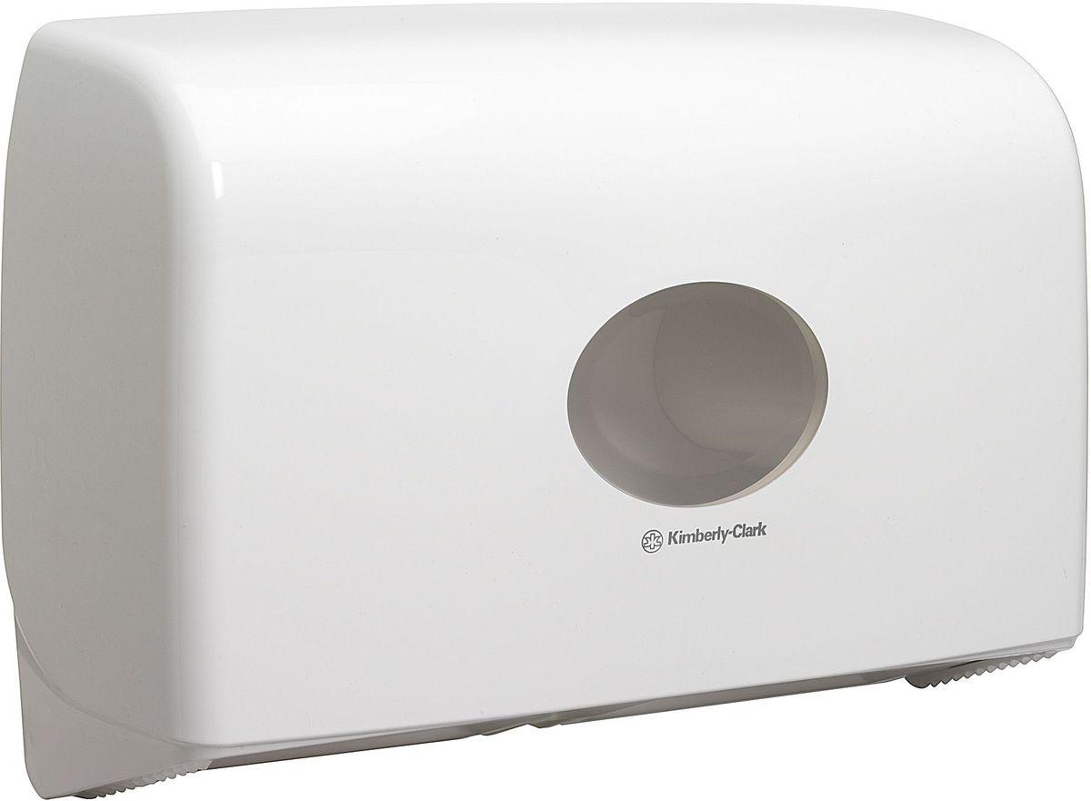 Диспенсер для туалетной бумаги Aquarius Jumbo, для двух больших рулонов, цвет: белый. 69476947Ассортимент диспенсеров для рулонной туалетной бумаги, которые выполнены в одном стиле с диспенсерами для мыла и для полотенец для рук. Диспенсеры мотивируют сотрудников соблюдать гигиенические нормы, повышают уровень комфорта, демонстрируют заботу о персонале и помогают сократить расходы. Идеальное решение, обеспечивающее подачу рулонной туалетной бумаги из элегантного диспенсера в туалетных комнатах с высокой проходимостью, легкая загрузка, практичное, гигиеничное и экономичное решение. Формат поставки: диспенсер современного дизайна, обтекаемой формы, обеспечивающий быструю заправку; белое глянцевое, легко очищаемое покрытие; отсутствие мест скопления пыли и грязи; смотровое окно для контроля за расходными материалами; возможность выбора цветовых вставок в соответствие с интерьером конкретных туалетных комнат. Замена диспенсера 6986. Совместим с туалетной бумагой: 8512.