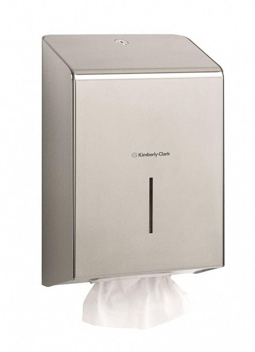 Диспенсер Kimberly-Clark Professional, для сложенных бумажных полотенец. 89718971Ассортимент профессиональных диспенсеров для сложенных бумажных полотенец для рук с выдачей по одному листу из премиальной линейки металлических диспенсеров для туалетных комнат Kimberly-Clark Professional. Диспенсеры мотивируют сотрудников соблюдать гигиенические нормы, повышают уровень комфорта, демонстрируют заботу о персонале и помогают сократить расходы. Идеальное решение, обеспечивающее подачу по одному листу полотенец для рук без прикосновения к диспенсеру или следующему полотенцу. Мотивирует посетителей соблюдать гигиенические нормы, помогает исключить риск перекрестного загрязнения и предотвратить распространение бактерий, обеспечивает экономию средств в зонах с высокой проходимостью, отличается простотой обслуживания. Диспенсер имеет окно для контроля за остатком расходного материала, выполнен из 2 мм нержавеющей стали с обработанными краями для большей безопасности при заправке расходных материалов. Может запираться на ключ. Формат поставки: элегантный диспенсер; надежное...