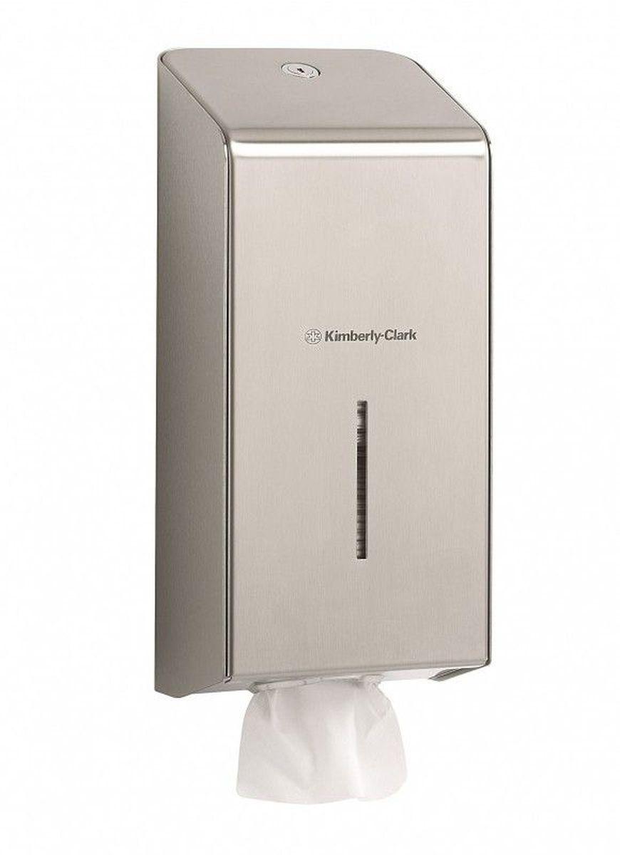 Диспенсер Kimberly-Clark Professional, для сложенной туалетной бумаги. 897296515412Ассортимент профессиональных диспенсеров для сложенной туалетной бумаги из премиальной линейки металлических диспенсеров для туалетных комнат Kimberly-Clark Professional. Диспенсеры мотивируют сотрудников соблюдать гигиенические нормы, повышают уровень комфорта, демонстрируют заботу о персонале и помогают сократить расходы. Идеальное решение, обеспечивающее подачу сложенной туалетной бумаги по одному листу без прикосновения к диспенсеру или следующему листу в туалетных комнатах офисов и гостиниц с высокими требованиями к интерьеру. Помогает снизить риск перекрестного загрязнения и предотвратить распространение бактерий. Диспенсер имеет окно для контроля за остатком расходного материала, выполнен из 2мм нержавеющей стали с обработанными краями для большей безопасности при заправке расходных материалов. Может запираться на ключ.Формат поставки: элегантный диспенсер; надежное крепление, корпус выполнен из нержавеющей стали. Совместим с туалетной бумагой: 8035, 8036, 8408, 8409, 8508, 8109.
