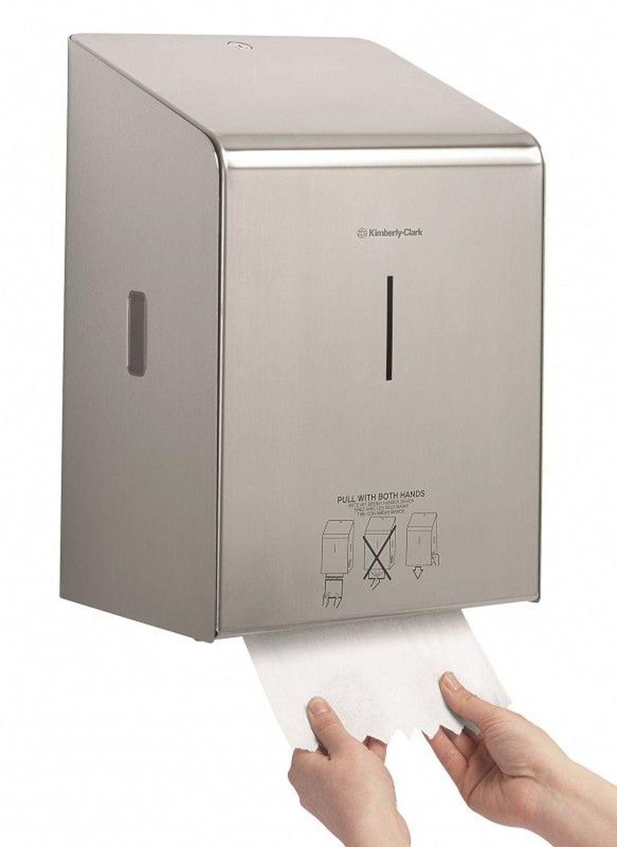 Диспенсер для бумажных полотенец Kimberly-Clark Professional, рулон. 89768976Ассортимент диспенсеров для рулонных бумажных полотенец для рук с выдачей по одному листу из премиальной линейки металлических диспенсеров для туалетных комнат Kimberly-Clark Professional. Диспенсеры мотивируют сотрудников соблюдать гигиенические нормы, повышают уровень комфорта, демонстрируют заботу о персонале и помогают сократить расходы. Идеальное решение, обеспечивающее подачу по одному листу полотенец для рук с зигзагообразным срезом, добавляет элемент роскоши в интерьер туалетных комнат, может использоваться в туалетных комнатах офисов и гостиниц с высокими требованиями к интерьеру, обеспечивает экономию средств и отличается простотой обслуживания. Диспенсер имеет окно для контроля за остатком расходного материала, выполнен из 2мм нержавеющей стали с обработанными краями для большей безопасности при заправке расходных материалов. Может запираться на ключ. Длина листа - 30 см. Формат поставки: элегантный диспенсер; надежное крепление, корпус выполнен из нержавеющей стали.