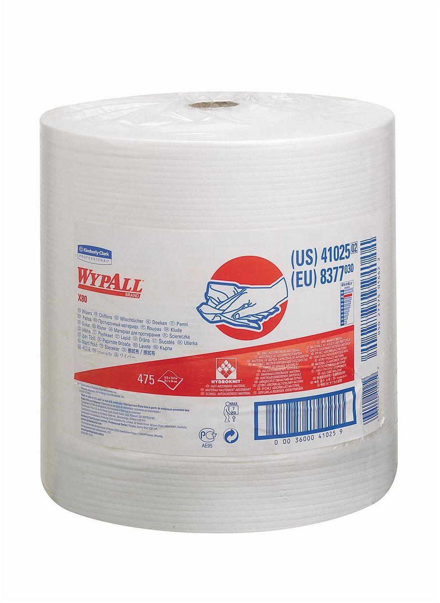 Полотенца бумажные Wypall Х80, 475 листов. 83778377Бумажные полотенца Wypall Х80 обладают отличной впитывающей способностью, долговечностью и прочностью, как в сухом, так и во влажном состоянии. Подходят для работы по очистке от клея, масла, мусора, стекол, а также для прецизионной очистки сложных механизмов и деталей. Бумажные полотенца Wypall Х80 могут использоваться с переносными или стационарными диспенсерами для контроля расхода продукта и уменьшения объема отходов.