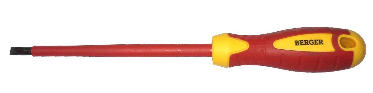 Отвертка шлицевая Berger, диэлектрическая, 0,6 x 3,5 x 100 мм. BG1052BG1052Отвертка на пластиковом держателе. Изготовлена из прочной и качественной хром-ванадиевой стали (CR-V). Двухкомпонентная рукоятка не позволяет отвертке выскальзывать при работе из рук. Инструмент выполнен из токонепроводящих материалов, что позволяет использовать его для работ с высоким напряжением до 1000V. Соответствует IEC 60900.