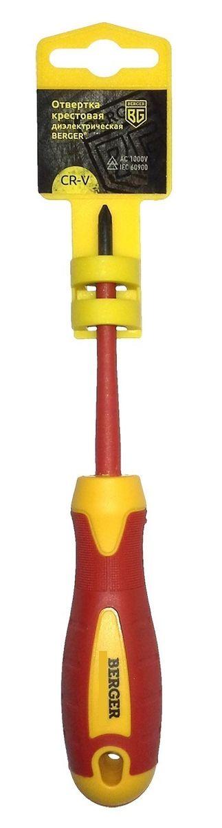 Отвертка крестовая Berger, диэлектрическая, PH0 x 60 мм. BG1055BG1055Отвертка на пластиковом держателе. Изготовлена из прочной и качественной хром-ванадиевой стали (CR-V). Двухкомпонентная рукоятка не позволяет отвертке выскальзывать при работе из рук. Инструмент выполнен из токонепроводящих материалов, что позволяет использовать его для работ с высоким напряжением до 1000V. Соответствует IEC 60900.