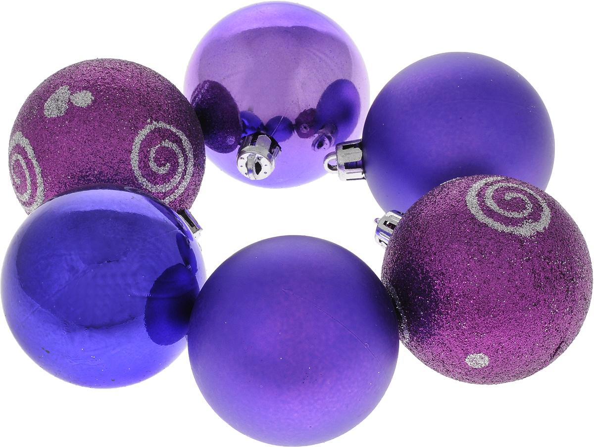 Набор новогодних подвесных украшений Шар, цвет: фиолетовый, диаметр 6 см, 6 шт. 35521A6483LM-6WHНабор новогодних подвесных украшений Шар прекрасно подойдет для праздничного декора новогодней ели. Состоит из шести шаров.Елочная игрушка - символ Нового года. Она несет в себе волшебство и красоту праздника. Создайте в своем доме атмосферу веселья и радости, украшая новогоднюю елку нарядными игрушками, которые будут из года в год накапливать теплоту воспоминаний. Коллекция декоративных украшений принесет в ваш дом ни с чем несравнимое ощущение волшебства! Откройте для себя удивительный мир сказок и грез. Почувствуйте волшебные минуты ожидания праздника, создайте новогоднее настроение вашим дорогим и близким.