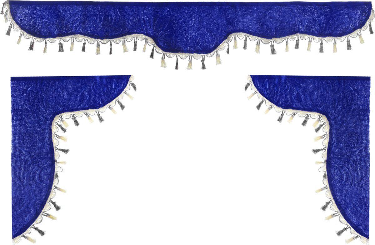 Ламбрекен для автомобильных штор Главдор, на Газель и микроавтобусы, цвет: синий, черный, молочныйSC-FD421005Ламбрекен для автомобильных штор Главдор изготовлен из бархатистого текстиля и декорирован кисточками по всей длине. Ламбрекен фиксируется при помощи липучек в верхней области лобового стекла и по сторонам боковых стекол. Такой аксессуар защитит от солнечных лучей и добавит уюта в интерьер салона. Размер ламбрекена на лобовое стекло: 140 х 20 см. Размер ламбрекена на боковое стекло: 60 х 45 см.