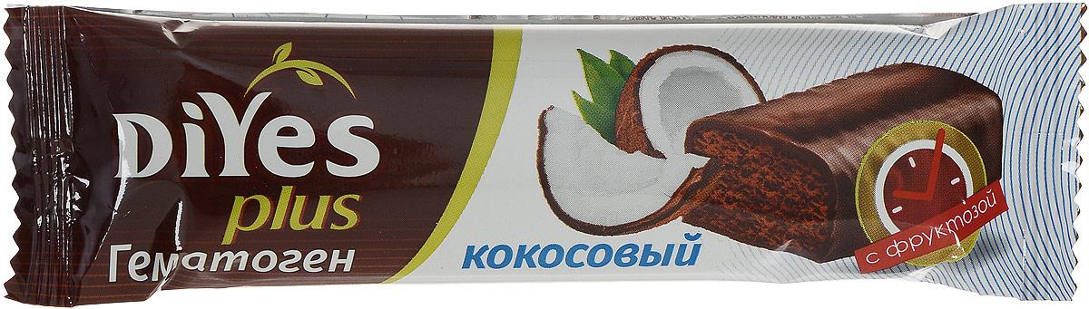 DiYes Plus Гематоген Кокосовый с фруктозой, 35 г0120710DiYes Plus производится на основе тщательно отобранных ингредиентов и содержит комплекс из 7 витаминов и минералов. В отличии от привычного гематогена, текстура DiYes Plus более мягкая и нежная, не имеет металлического послевкусия. Придется по вкусу ребенку и станет полезной альтернативой обычному шоколадному батончику.Уважаемые клиенты! Обращаем ваше внимание, что полный перечень состава продукта представлен на дополнительном изображении.