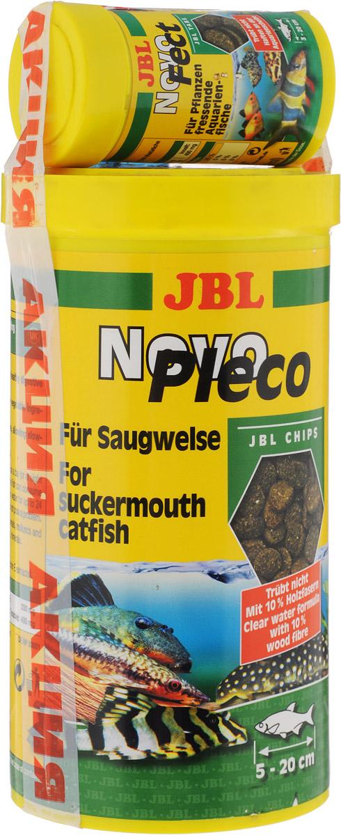 Корм JBL NovoPleco для кольчужных сомов, в форме чипсов, 530 г (1 л) + ПОДАРОК0120710Корм JBL NovoPleco представляет собой чипсы, изготовленные по специальной технологии, состав которых и консистенция специально подобраны для кормления кольчужных сомов и других донных рыб, питающихся растениями. Корм обеспечивает правильное питание. Быстро погружающиеся в воду чипсы сразу ложатся на дно аквариума, в зону досягаемости для его донных обитателей. В подарок входит корм JBL NovoFect. Он содержит все компоненты в специально сбалансированной смеси с высоким содержанием растительных веществ, которые отвечают потребностям донных рыб и рыб, обитающих в средней зоне, питающихся преимущественно растительной пищей.Состав корма JBL NovoPleco: растительные побочные продукты, овощи, злаки, моллюски и ракообразные, водоросли, рыба и рыбные побочные продукты, дрожжи. Состав корма JBL NovoFect: зерновые, водоросли, рыба и рыбные побочные продукты, моллюски и ракообразные, овощи, экстракт растительного белка.Товар сертифицирован.