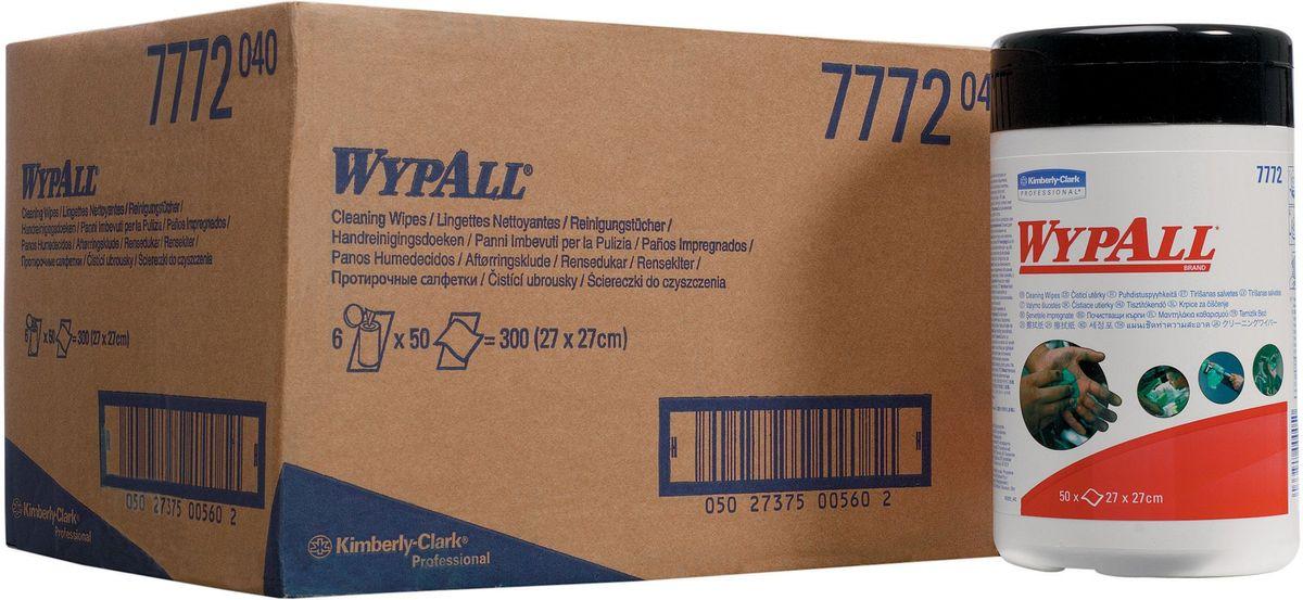 Салфетка протирочная Wypall, 50 листов, 6 упаковок. 77727772Абразивные влажные салфетки, обеспечивающие очистку рук, инструментов, узлов агрегатов без использования мыла, гелей и воды; не раздражают и не высушивают кожу рук; повышают уровень гигиены. Формат поставки: система протирки на основе рулонных салфеток с центральной подачей для контроля расхода; быстрая загрузка и простая очистка системы; подача по одному листу сокращает объем отходов, обеспечивая высокий уровень гигиены. Переносная система с предварительно пропитанными протирочными салфетками для очистки: одна сторона салфеток с шероховатой поверхностью - для удаления грязи, вторая - с гладкой поверхностью - для очистки и окончательной отделки.
