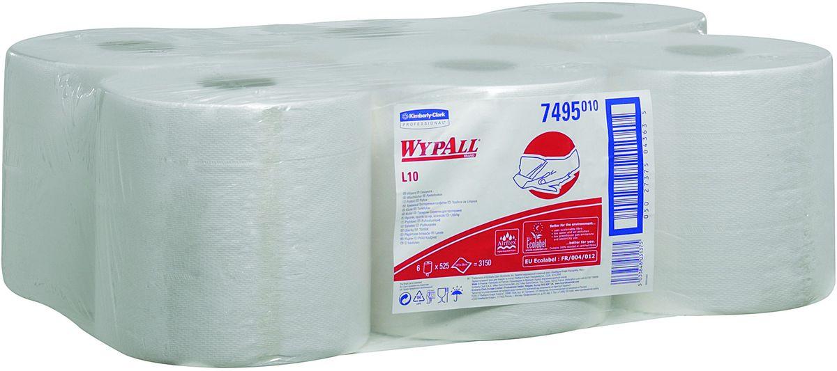 Салфетка бумажная Wypall L10, 525 листов, 6 рулонов. 74957495Протирочные салфетки с ограниченным сроком службы, произведенные при помощи технологии AIRFLEX®. Благодаря данной технологии изготовления салфетки WYPALL серии L10 отличаются особенной прочностью и быстротой впитывания жидкостей. Идеальные салфетки для универсальных задач, сбора грязи, работы с маслом, протирки и впитывания жидкостей в пищевой промышленности, автомобильной индустрии и многих других областей. Формат поставки: 6 рулонов белого цвета с перфорацией и центральной подачей на 525 отрывов.