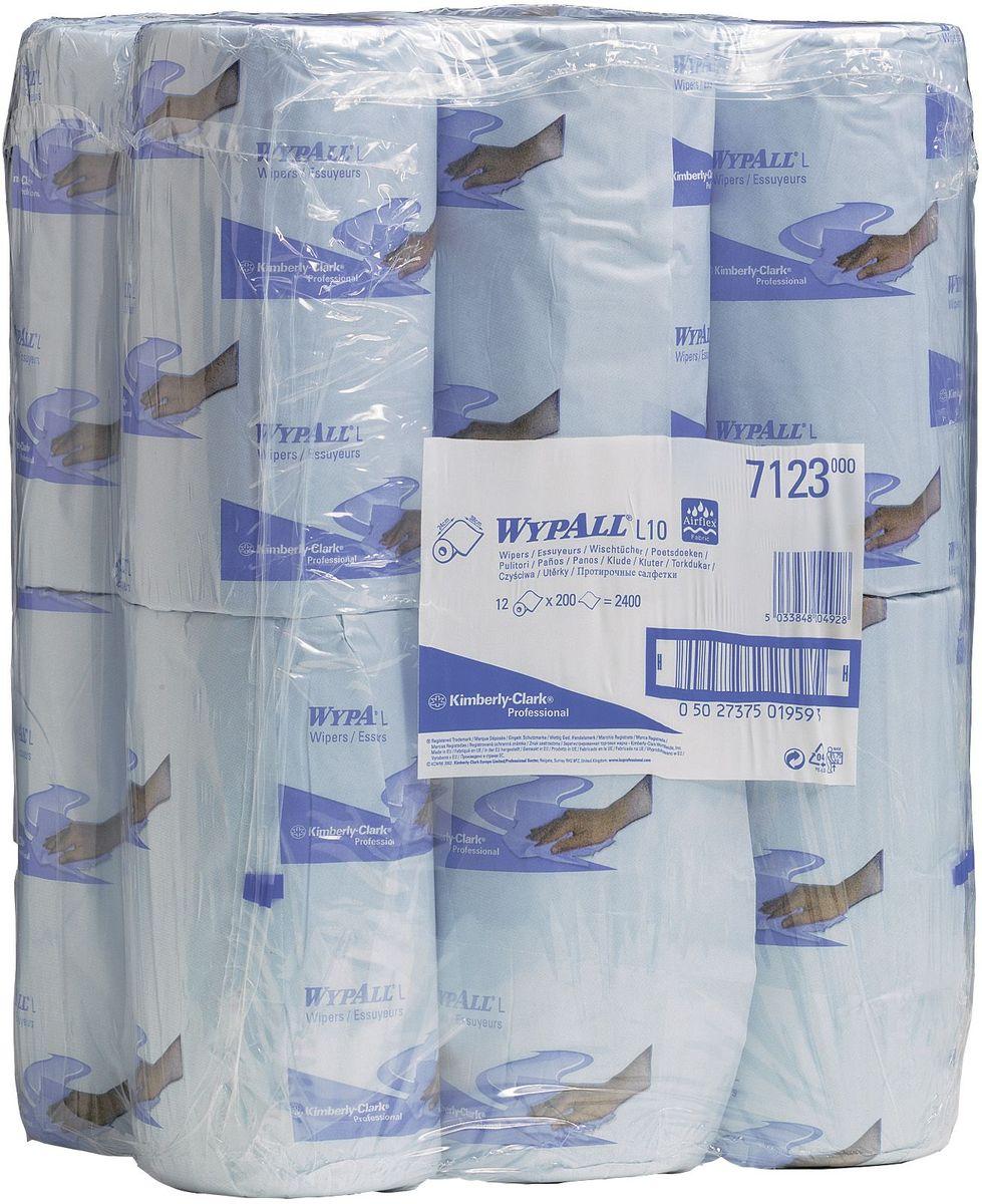 Салфетка бумажная Wypall L10, 200 листов, 12 рулонов. 71237123Протирочные салфетки с ограниченным сроком службы, произведенные при помощи технологии AIRFLEX®. Благодаря данной технологии изготовления салфетки WYPALL серии L10 отличаются особенной прочностью и быстротой впитывания жидкостей. Идеальные салфетки для универсальных задач, сбора грязи, работы с маслом, протирки и впитывания жидкостей в пищевой промышленности, автомобильной индустрии и многих других областей. Формат поставки: 12 малых рулонов голубого цвета с перфорацией на 200 отрывов.