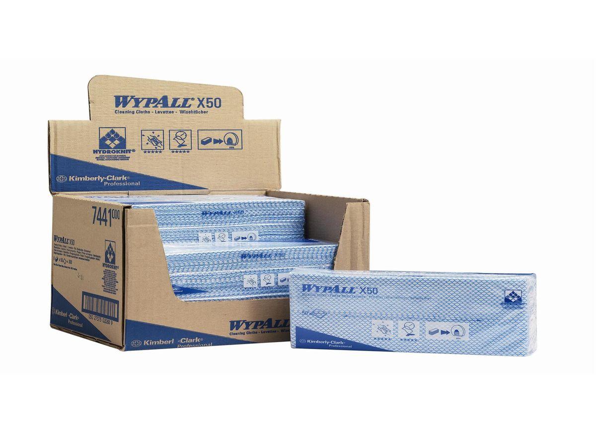 Салфетка протирочная Wypall Х50, 50 листов. 74417441Протирочные салфетки для многоразового использования, изготовленные по технологии HYDROKNIT®, обладают отличной впитывающей способностью, долговечностью и прочностью (как в сухом, так и во влажном состоянии), могут использоваться с большинством растворителей, обеспечивают быструю очистку и помогают сократить расходы. Идеальное решение для гигиеничной уборки в туалетных комнатах, клинических помещениях и палатах пациентов, на кухнях и участках приготовления пищи; помогает предотвратить перекрестное загрязнение за счет цветовой кодировки. Салфетки допускают стирку и повторное использование, что уменьшает объем отходов и сокращает эксплуатационные затраты. Формат поставки: протирочные салфетки со сложением interfold, упакованные в полиэтиленовый пакет для защиты от брызг и воды, обеспечивающий мгновенный доступ к гигиенически защищенным салфеткам на рабочем месте. 7441 - синий 7442 - зеленый 7443 - желтый 7444 - красный