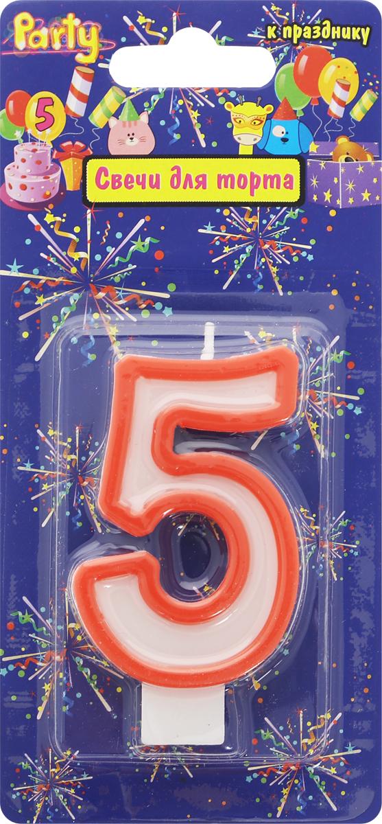 Action! Свеча-цифра для торта 5 лет цвет красный