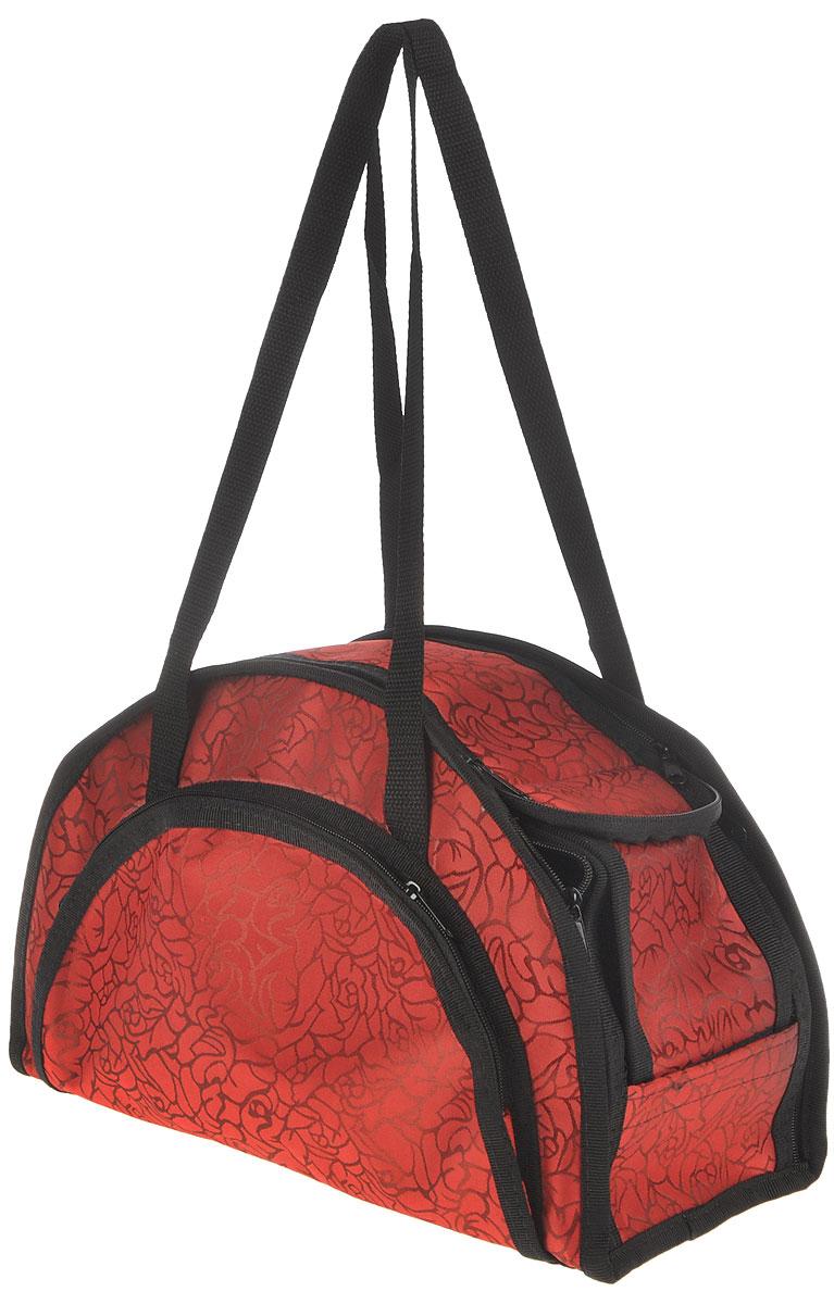 Сумка-переноска для животных Elite Valley, модельная, складная, цвет: красный, черный, 36 х 15 х 23 смС-13_розы на красномМодельная сумка-переноска Elite Valley для собак мелких пород и кошек имеет твердое съемное основание, которые не позволяет животному провисать. Изделие выполнено из плотного материала и текстиля, а также имеет сборную-разборную конструкцию. Закрывается при помощи застежки-молнии. С внешней стороны имеется удобный карман, который также закрывается на молнию. Сумка снабжена карманом и специальной сетчатой вставкой, которая закрывается на липучку. Для удобной переноски имеется две ручки. При необходимости сумка складывается и фиксируется липучкой. Сумка-переноска Elite Valley обязательно понравится вашим домашним любимцам и сделает любую поездку наиболее комфортной.