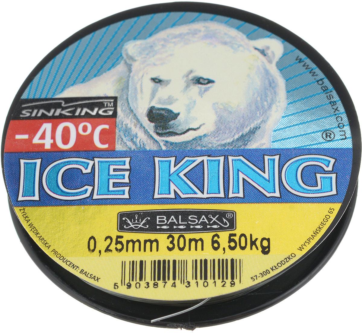 Леска зимняя Balsax Ice King, 30 м, 0,25 мм, 6,5 кг310-08025Леска Balsax Ice King изготовлена из 100% нейлона и очень хорошо выдерживает низкие температуры. Даже в самом холодном климате, при температуре вплоть до -40°C, она сохраняет свои свойства практически без изменений, в то время как традиционные лески становятся менее эластичными и теряют прочность. Поверхность лески обработана таким образом, что она не обмерзает и отлично подходит для подледного лова. Прочна в местах вязки узлов даже при минимальном диаметре.