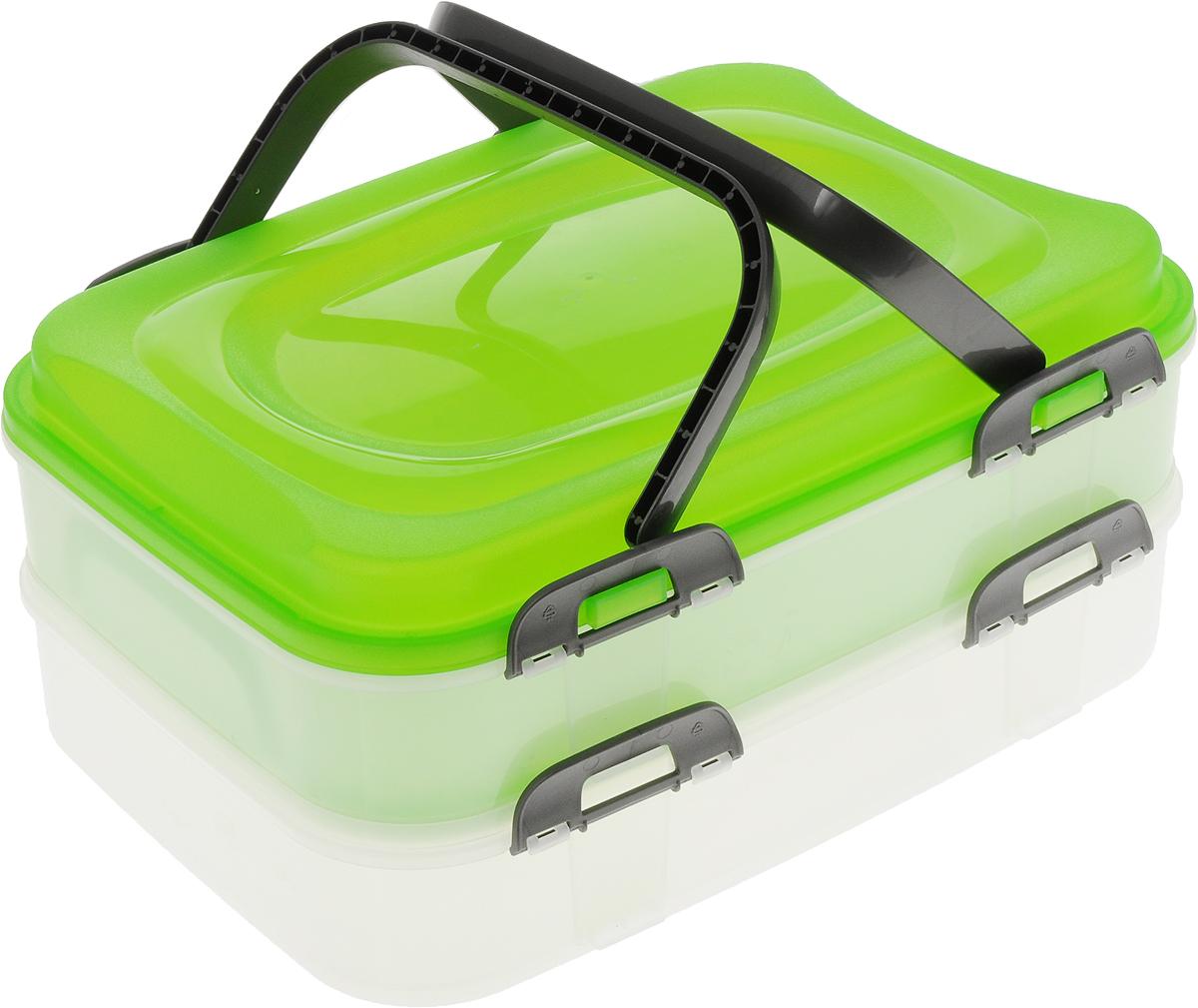 Набор контейнеров Axentia Бокс-сет, цвет: салатовый, прозрачный, 2 шт116833_салатовыйНабор Axentia Бокс-сет, изготовленный из высококачественного пластика, состоит из 2 пищевых контейнеров. Изделия оснащены крышками с застежками и удобными ручками. Идеально подходят для бизнес-ланчей.