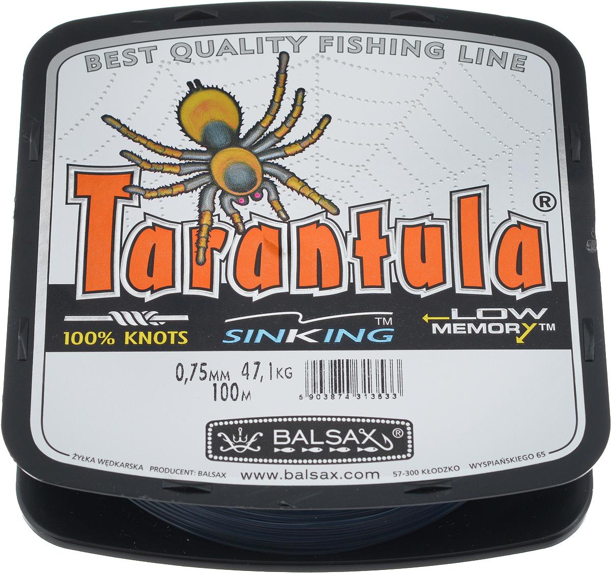 Леска Balsax Tarantula, 100 м, 0,75 мм, 47,1 кг03/1/12Леска Balsax Tarantula выполнена из нейлоновой мононити. Новая молекулярная структура лески отличается повышенной сопротивляемостью к разрыву, но при этом она способна и растягиваться. Растяжимость в случае применения этой лески является отличным достоинством, особенно во время энергичной борьбы с рыбой, как амортизатор защищая оснастку от обрыва.