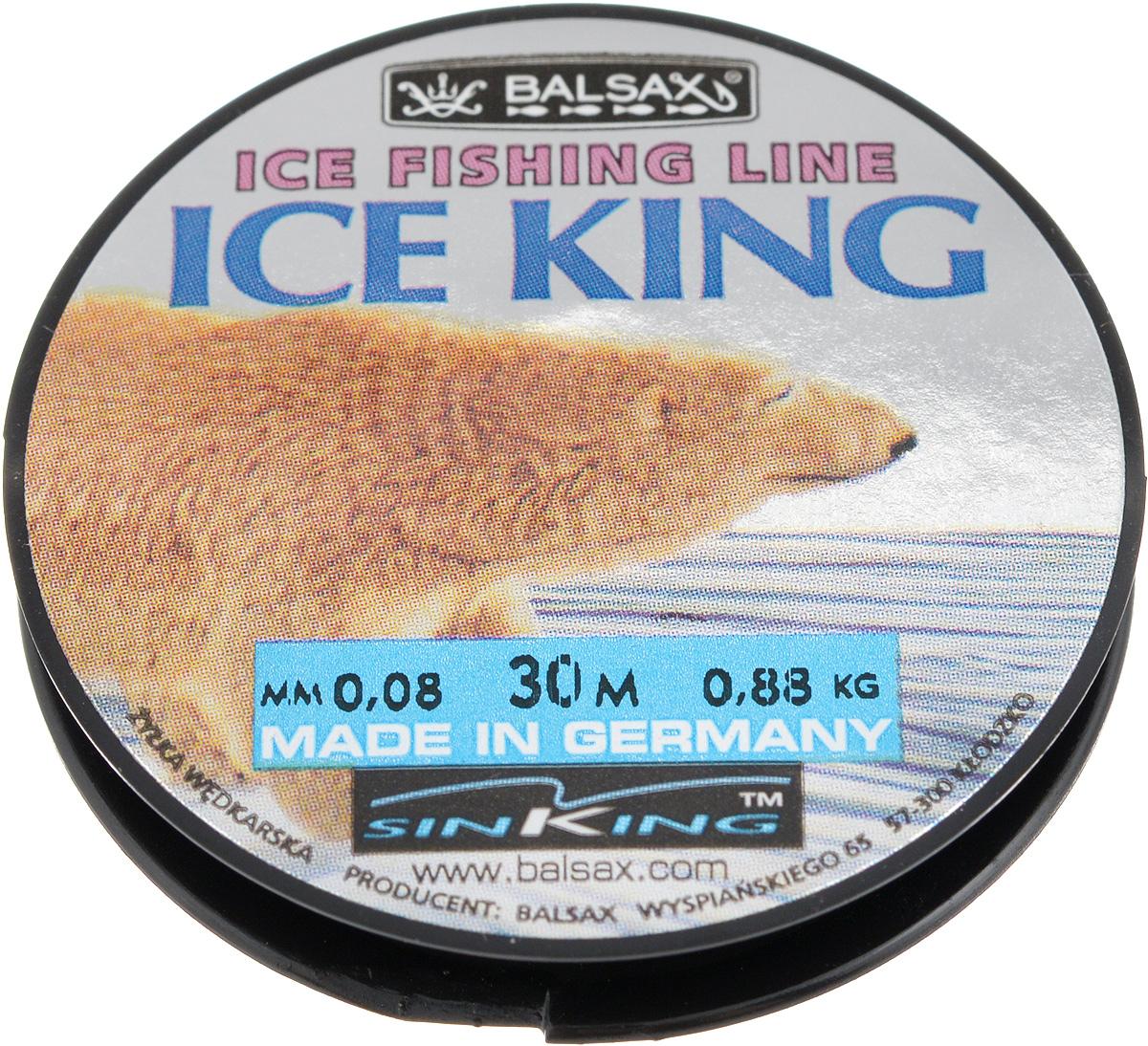 Леска зимняя Balsax Ice King, 30 м, 0,08 мм, 0,88 кг310-08008Леска Balsax Ice King изготовлена из 100% нейлона и очень хорошо выдерживает низкие температуры. Даже в самом холодном климате, при температуре вплоть до -40°C, она сохраняет свои свойства практически без изменений, в то время как традиционные лески становятся менее эластичными и теряют прочность. Поверхность лески обработана таким образом, что она не обмерзает и отлично подходит для подледного лова. Прочна в местах вязки узлов даже при минимальном диаметре.
