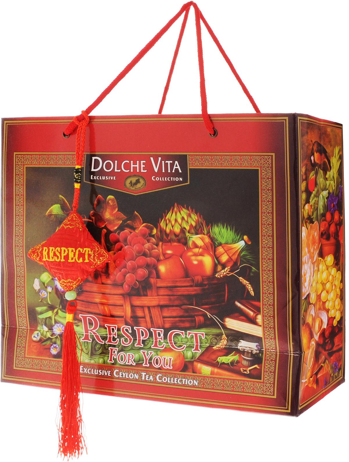 Dolche Vita Respect подарочный набор черного листового чая, 200 г0120710Подарочный набор черного листового чая Dolche Vita Respect включает в себя плантационный цейлонский черный крупнолистовой чай и ароматизированный цейлонский черный крупнолистовой чай, упакованные в подарочную коробку и пакет.