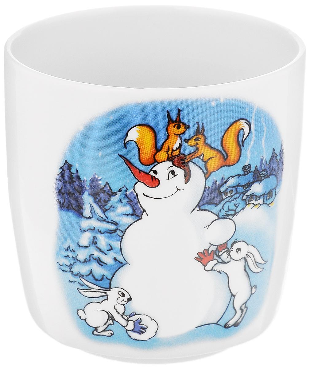 Стакан Фарфор Вербилок Снеговик с белками и зайчиками, 210 мл28782140_снеговик, белки, зайчики
