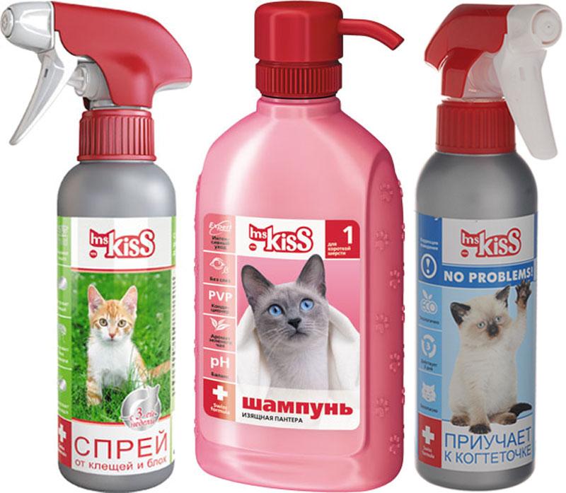 Набор для кошек Ms. Kiss: Шампунь-кондиционер Изящная пантера, для короткой шерсти, 200 мл, Спрей Приучение к когтеточке, 200 мл, Спрей репелентный, 200 млMK05-00500Косметический шампунь-кондиционер, Зоогигиеническое средство для приучения кошек точить когти в определенном месте, спрей против насекомых