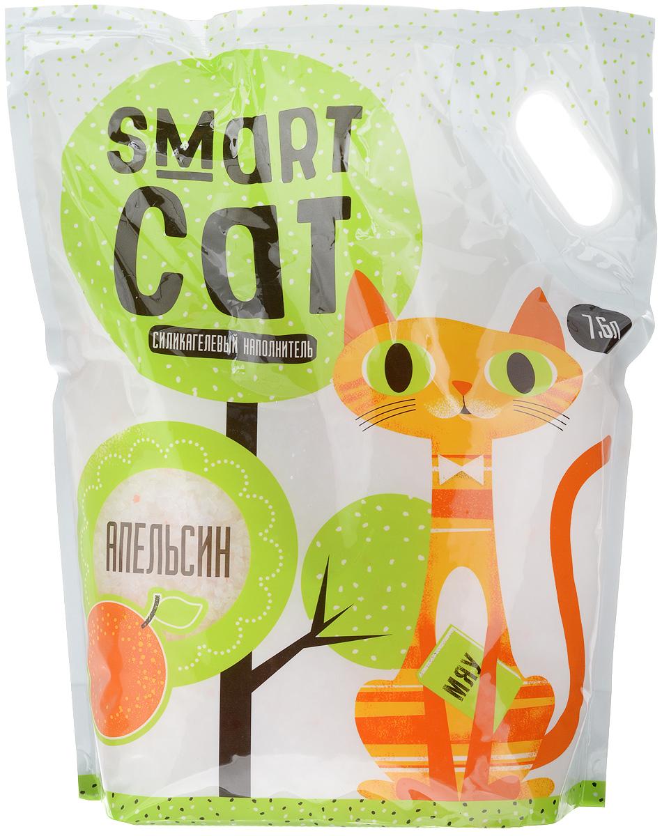 Наполнитель для кошачьих туалетов Smart Cat, силикагелевый, с ароматом апельсина, 7,6 л0120710Силикагелевый наполнитель Smart Cat представляет собой мелкие белоснежные гранулы с ароматом апельсина, изготовленные из сухого геля поликремниевой кислоты. Такой состав обладает прекрасной способностью впитывать жидкость, а также мгновенно поглощать и удерживать туалетные запахи.Наполнитель Smart Cat не вызывает у питомцев аллергических реакций, не поднимает пыль при использовании и не прилипает к нежным кошачьим лапкам и длинной шерсти, а значит, не разносится по окружающей туалет территории. Использованный наполнитель из силикагеля удаляется из кошачьего лотка специальным совочком и утилизируется в мусорное ведро (его нельзя выбрасывать в унитаз).Наполнитель Smart Cat заботится о чистоте вашего дома и комфорте питомца! Товар сертифицирован.
