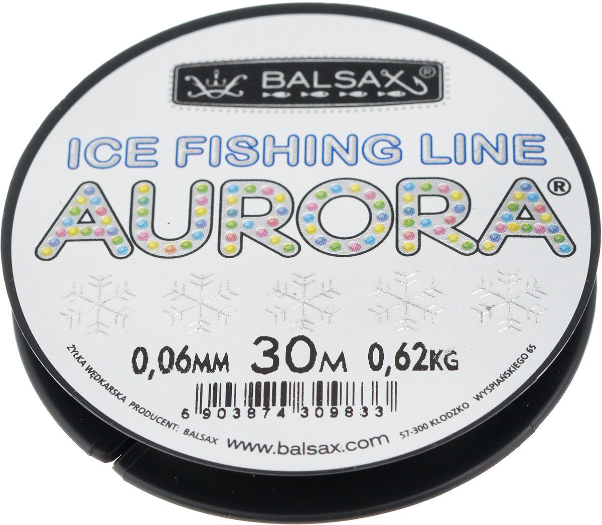 Леска зимняя Balsax Aurora, 30 м, 0,06 мм, 0,62 кг310-04006Леска Balsax Aurora изготовлена из 100% нейлона и очень хорошо выдерживает низкие температуры. Даже в самом холодном климате, при температуре вплоть до -40°C, она сохраняет свои свойства практически без изменений, в то время как традиционные лески становятся менее эластичными и теряют прочность. Поверхность лески обработана таким образом, что она не обмерзает и отлично подходит для подледного лова. Прочна в местах вязки узлов даже при минимальном диаметре.