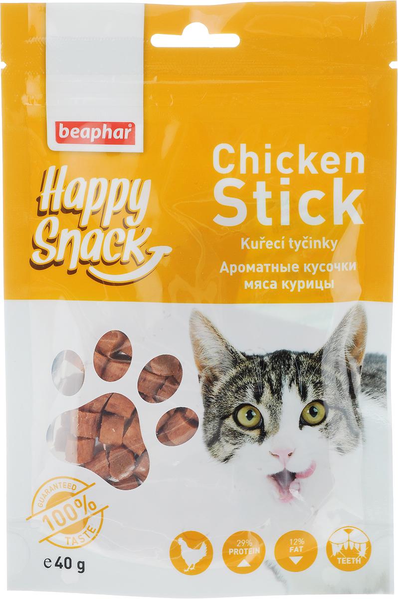 Лакомство для кошек Beaphar Happy Snack, ароматные кусочки мяса курицы, 40 г42185Лакомство для котят Beaphar Happy Snack - дополнительный корм для кошек и котят с 3-месячного возраста в виде небольших кусочков из куриного мяса. Лакомство понравится даже самым искушенным кошачьим гурманам. Специальный замок zip-lock на упаковке позволяет дольше хранить лакомство. Товар сертифицирован.