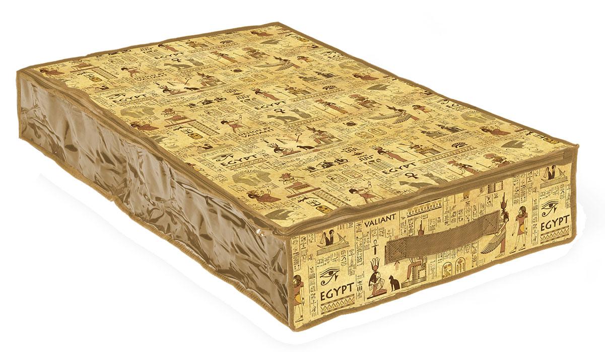 Кофр для хранения Valiant Egypt, 100 х 50 х 15 смEG-CB-LВместительный кофр Valiant Egypt изготовлен из высококачественного прочного нетканого материала и предназначен для долговременного хранения вещей. Кофр закрывается крышкой на застежку-молнию. Одна из боковых сторон выполнена из прозрачного ПВХ, что позволяет видеть содержимое. Для удобства в обращении имеется ручка. Кофр защитит ваши вещи от повреждений, пыли, влаги и загрязнений во время хранения и транспортировки. Он пропускает воздух и отталкивает воду. Изделие гармонично смотрится в любом интерьере, привнося в него изысканность и дизайнерскую изюминку. Кофр - это новый взгляд на систему хранения - теперь хранить вещи не только удобно, но и красиво. Размер кофра: 100 х 20 х 15 см.