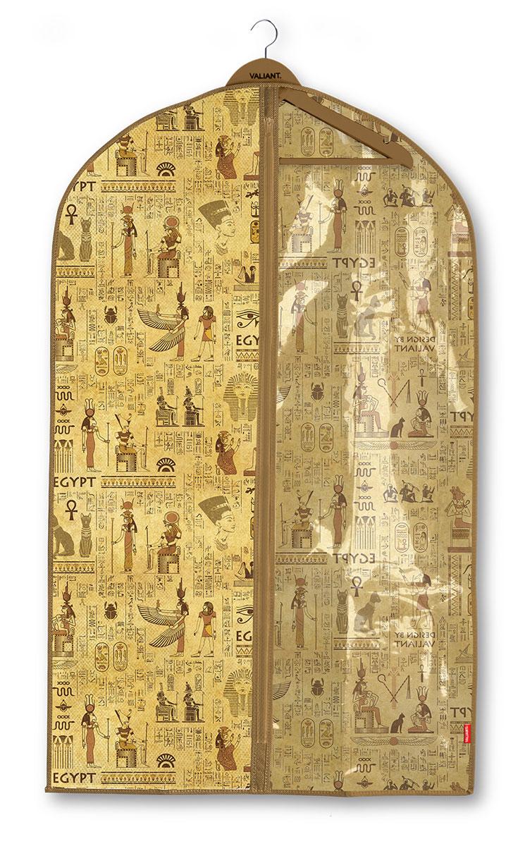Чехол для одежды Valiant Egypt, с прозрачной вставкой, 60 х 100 см10503Чехол для одежды Valiant Egypt изготовлен из высококачественного нетканого материала, который обеспечивает естественную вентиляцию, позволяя воздуху проникать внутрь, но не пропускает пыль. Чехол закрывается на застежку-молнию. Лицевая сторона чехла дополнена прозрачной вставкой из ПВХ, которая позволяет видеть содержимое. Идеально подойдет для хранения одежды и удобной перевозки. Оригинальный дизайн придется по вкусу ценительницам эстетичного хранения.