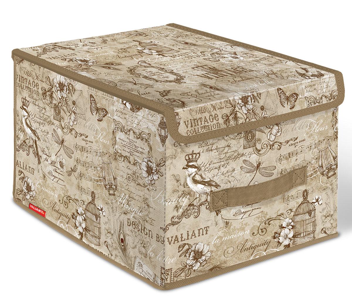 Короб стеллажный Valiant Vintage, с крышкой, 30 x 40 x 25 смVN-BOX-LMСтеллажный короб Valiant Vintage изготовлен из высококачественного нетканого материала, который обеспечивает естественную вентиляцию, позволяя воздуху проникать внутрь, но не пропускает пыль. Вставки из плотного картона хорошо держат форму. Короб снабжен специальной крышкой, которая фиксируется с помощью двух магнитов. Изделие отличается мобильностью: легко раскладывается и складывается. В таком коробе удобно хранить одежду, белье и мелкие аксессуары. Системы хранения в едином дизайне сделают вашу гардеробную изысканной и невероятно стильной.
