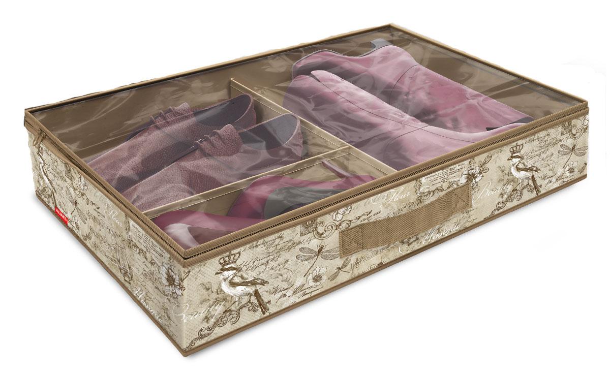 Кофр для хранения обуви Valiant Vintage, 6 секций, 60 x 40 x 12 см10503Вместительный кофр Valiant Vintage изготовлен из высококачественного прочного нетканого материала и предназначен для долговременного хранения обуви. Кофр, закрывающийся крышкой на застежку-молнию, содержит 6 секций. Перегородки легко убираются. Крышка из прозрачного ПВХ позволяет видеть содержимое. Для удобства в обращении имеется ручка. Кофр защитит вашу обувь от повреждений, пыли, влаги и загрязнений во время хранения и транспортировки. Он пропускает воздух и отталкивает воду. Изделие гармонично смотрится в любом интерьере, привнося в него изысканность и дизайнерскую изюминку. Кофр - это новый взгляд на систему хранения - теперь хранить вещи не только удобно, но и красиво. Размер кофра: 60 х 40 х 12 см. Количество секций: 6 шт.