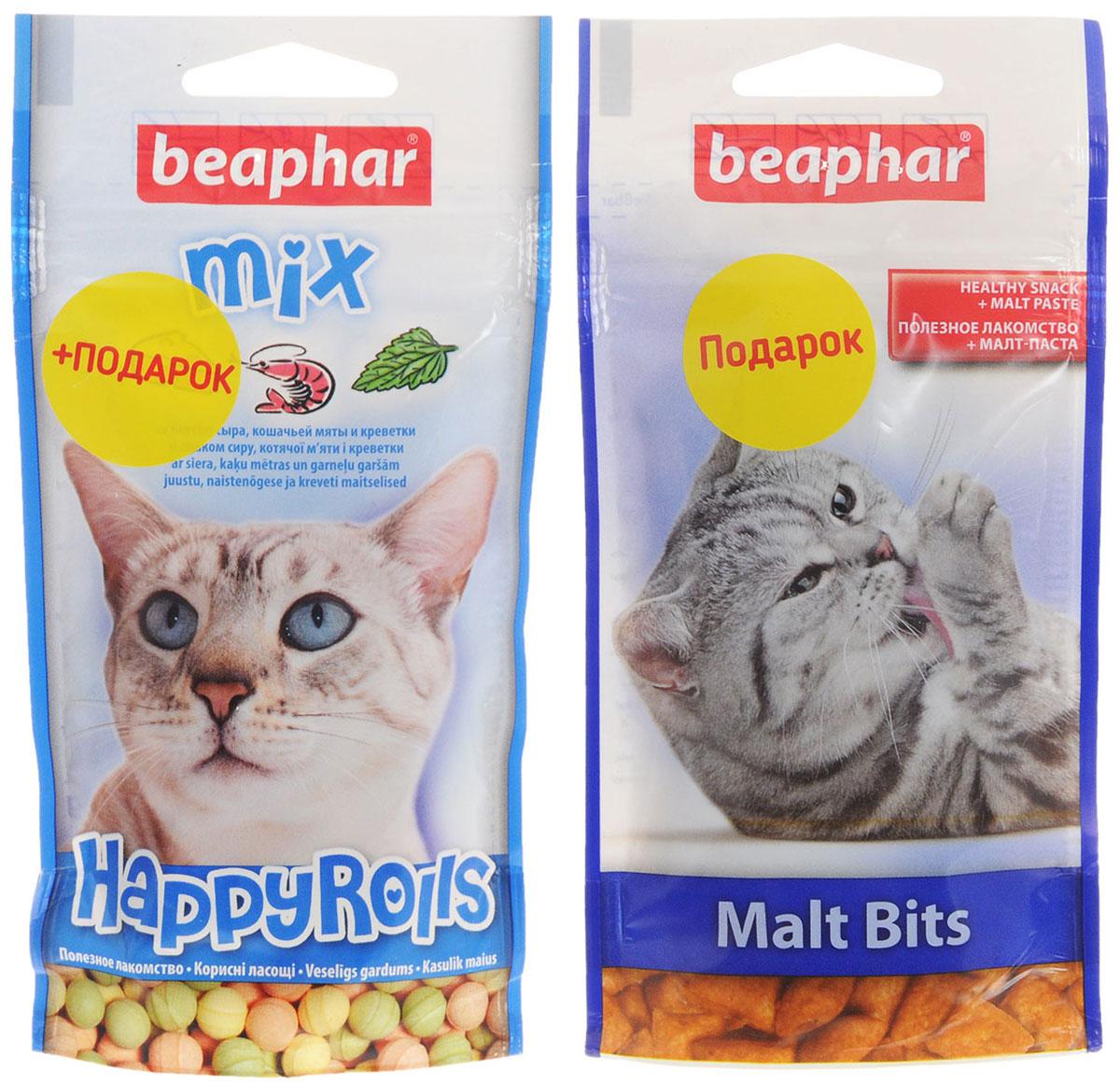 Лакомство для кошек Beaphar Happy Rolls Mix, 80 шт (44,2 г) + ПОДАРОК: Лакомство для кошек Beaphar Malt Bits, 35 г13184_синий, + подарокЛакомство Beaphar Happy Rolls Mix с креветками, сыром и кошачьей мятой для кошек очень вкусно и полезно. Оно содержит витамины, минералы и микроэлементы. Улучшает настроение, а также помогает уберечь кошку от стрессов. Применяется в качестве лакомства для кошек, начиная с 6-месячного возраста. В подарок входит лакомство для кошек и котят от Beaphar Malt Bits - хрустящие подушечки с наполнителем малт-пасты. Состав лакомства Beaphar Happy Rolls Mix: молоко и молочные продукты, сахар, минералы, мясо и мясопродукты (более 4% ливер), рыба и рыбопродукты (более 4% креветок). Анализ лакомства Beaphar Happy Rolls Mix: протеин (8,8%), жиры (2,8%), клетчатка (7,4%), зола (12,8%), влага (4,7%), кальций (1,8%), фосфор (1,3%), натрий (0,2%). Добавки лакомства Beaphar Happy Rolls Mix: микрокристаллическая целлюлоза Е 460, стеарат кальция E 470. Количество в упаковке лакомства Beaphar Happy Rolls Mix: 80 шт. ...