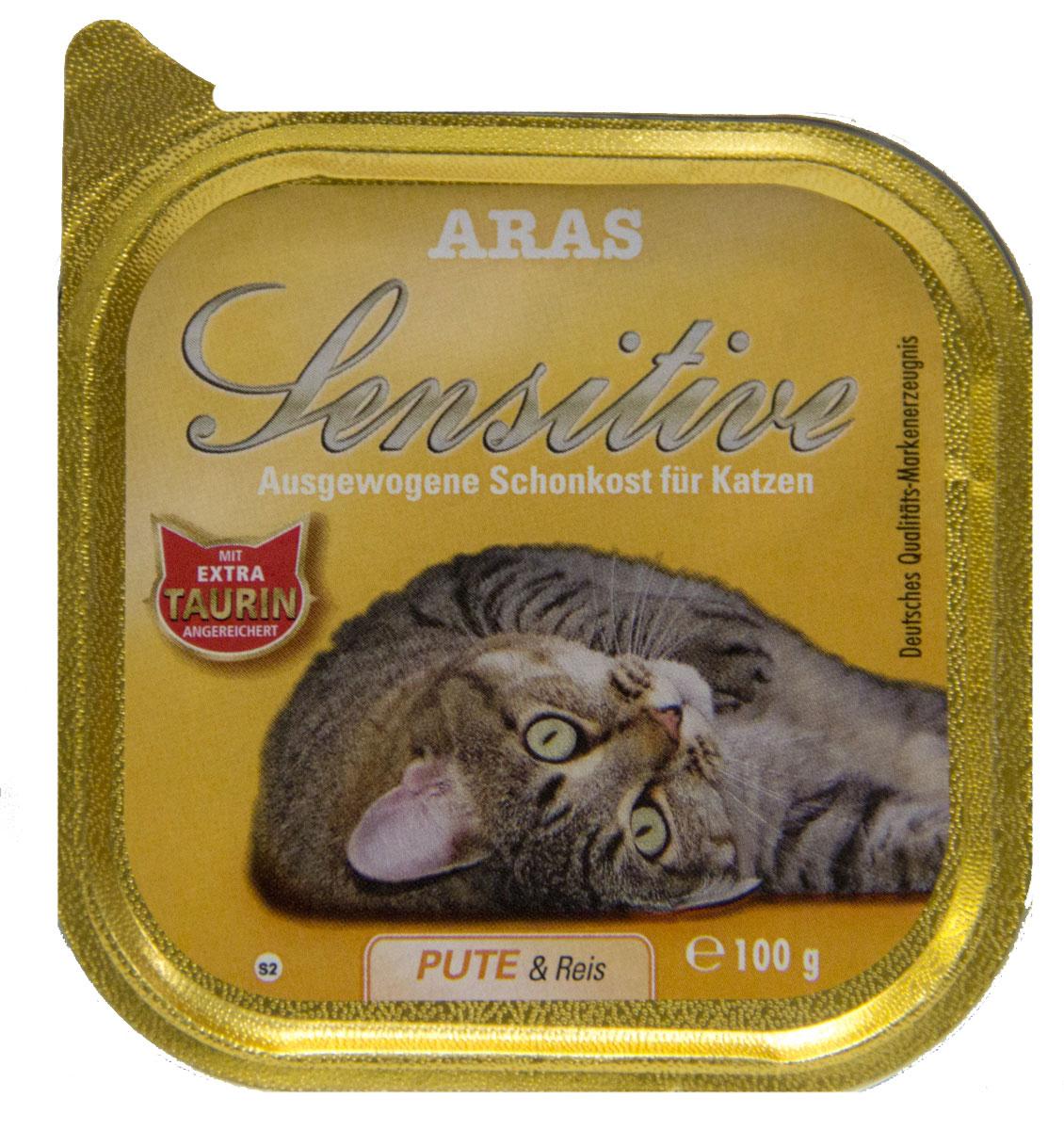 Консервы Aras Sensitive для кошек с чувствительным пищеварением, с индейкой и рисом, 100 г504102Консервы Aras Sensitive - натуральное диетическое питание пониженной калорийности для кошек всех пород с чувствительным пищеварением, пожилых или с избыточным весом. Также идеально подходит для кошек с проблемами пищеварения и аллергиями. Особенности корма: - Приготовлен из стопроцентного мяса индейки или баранины - Без химических красителей, усилителей вкуса - Без искусственных консервантов - Без химических добавок - Со стопроцентным рисом - единственным источником углеводов - Исключительно из свежих ингредиентов - При производстве максимально сохранены витамины - Гарантия свежести - Дополнительная порция таурина - Диетическое питание пониженной калорийности Состав: свежее мясо индейки и субпродукты 98%, рис 1%, минералы 1%, таурин 150 мг/кг. Пищевая ценность: белки 8,1%, жиры 3,9%, зола 2,5%, клетчатка 0,3%, влажность 79,9%. Товар сертифицирован.