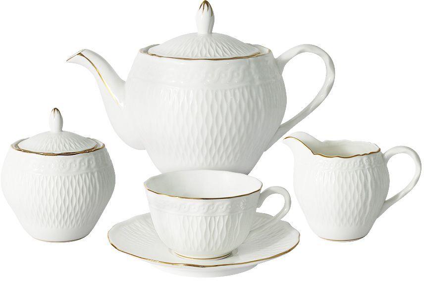 Чайный сервиз Colombo Бьянка, 15 предметов, 6 персон. C2-TS/15-K4815ALC2-TS/15-K4815ALЧайный сервиз из 15 предметов на 6 персон Бьянка: 6 чашек 0,17л, 6 блюдец, чайник 0.85л, сахарница 0,3л, молочник 0,2л Посуда для чая и сервировки стола торговой марки Colombo изготовлена из костяного фарфора. Высокое качество изделий достигается благодаря использованию новейших технологий при изготовлении посуды, а также строгому контролю на всех этапах производственного процесса на фабрике. Рекомендуется мыть в теплой воде с применением мягких моющих средств.