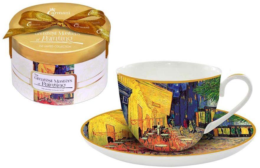 Чайная пара Carmani Ночная терраса кафе, 2 предметаCAR2-045-0306-ALЧайная пара Carmani Ночная терраса кафе состоит из чашки и блюдца, изготовленных из высококачественного костяного фарфора. Яркий дизайн изделий, несомненно, придется вам по вкусу. Чайная пара Carmani Ночная терраса кафе украсит ваш кухонный стол, а также станет замечательным подарком к любому празднику. Объем чашки: 250 мл.