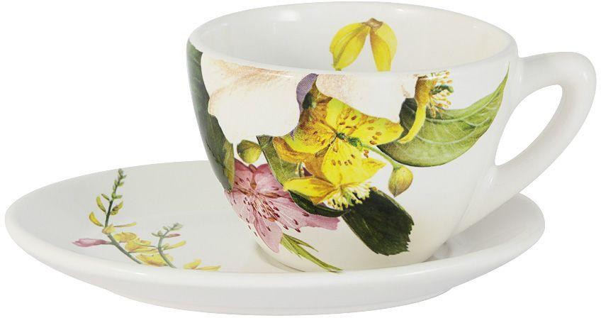 Чайная пара Ceramiche Viva Фреско. 2 предметаCV2-T07-04048-ALЧайная пара Ceramiche Viva Фреско состоит из чашки и блюдца, изготовленных из высококачественной глазурованной керамики. Яркий дизайн изделий, несомненно, придется вам по вкусу. Чайная пара Ceramiche Viva Фреско украсит ваш кухонный стол, а также станет замечательным подарком к любому празднику. Объем чашки: 250 мл.