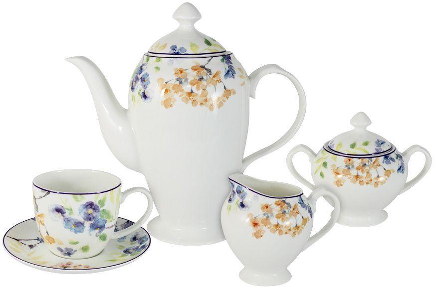 Чайный сервиз Primavera Fine Bone China Акварель, 15 предметов, 6 персон. PWW-150248-15ALPWW-150248-15ALНабор 15 предметов на 6 персон: 6 чашек 0.25л, 6 блюдец, чайник 1.4л, сахарница 0.25л, молочник 0.25л Акварель Обеденные и чайные сервизы торговой марки Primavera изготовлены из фарфора с добавлением костной золы (7-15%), благодаря которой фарфор получается прозрачным и прочным. Посуда подходит для ежедневного инспользования, благодаря отсутствию серебряной и золотой отделки посуду можно мыть в посудомоечной машине, а также использовать в микроволновой печи.