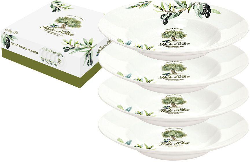 Набор тарелок для пасты Nuova R2S Прованс, диаметр 22 см, 4 штR2S819/PROV-ALНабор Nuova R2S Прованс состоит из четырех тарелок для пасты, выполненных из высококачественного фарфора. Изделия декорированы красочными изображением оливок. Такой набор изящно украсит сервировку стола и порадует вас ярким дизайном.