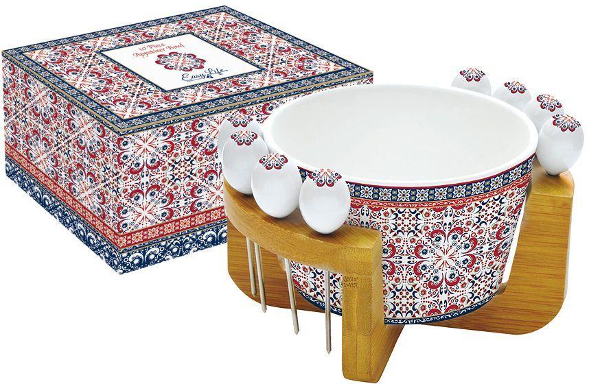 Набор для закуски Nuova R2S Мавритания: салатник для оливок 15 см, 8 шпажек, подставка. R2S850/ALHA-ALR2S850/ALHA-ALНабор для закуски: салатник для оливок 15см +8 шпажек на подставке Мавритания Концепция выпускаемой продукции заключается в создании единой дизайнерской линии предметов сервировки стола, оформления интерьера кухни или столовой комнаты. Вся продукция производится из современных и экологически чистых материалов: фарфора, стекла, пластика и дерева. Продукция компании NUOVA R2S отличается современным дизайном, и легкостью в эксплуатации. Компания работает в тесном сотрудничестве с лучшими итальянскими художниками и дизайнерами.