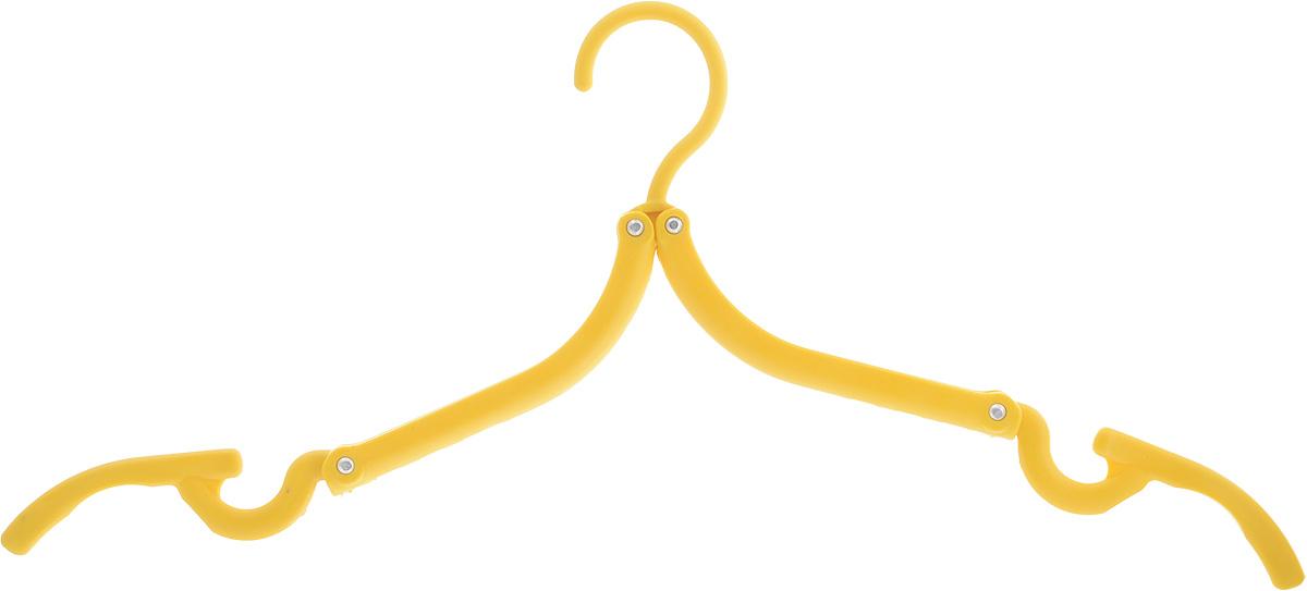 Вешалка Home Queen, складная, цвет: желтый, длина 42 см70672Складная вешалка для одежды Home Queen выполнена из прочного полипропилена. Вешалка снабжена крючками для юбок и брюк. Она складывается и раскладывается, поэтому ее удобно брать с собой в поездки. Вешалка - это незаменимая вещь для того, чтобы ваша одежда всегда оставалась в хорошем состоянии. Размер вешалки (в сложенном виде): 13 х 8 х 1,5 см. Размер вешалки (в разложенном виде): 42 х 17,5 см.